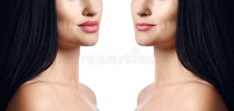 女性嘴唇比较在补白射入秀丽塑料前后的 有自然构成的美丽的完善的妇女嘴唇 免版税图库摄影