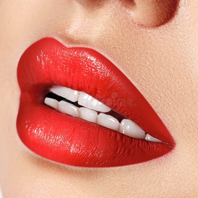 女性嘴特写镜头宏观射击  性感的与淫荡姿态的魅力红色嘴唇构成 红色光泽唇膏 图库摄影