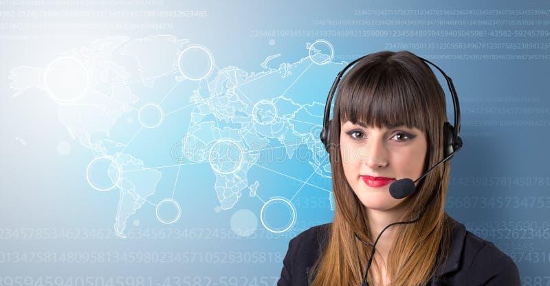 女性图象查出的工作室电话推销员年轻人 皇族释放例证