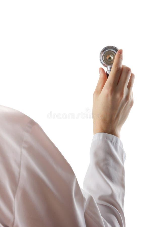 女性在白色背景隔绝的医生和听诊器 医疗保健和医学的概念 复制空间 库存照片