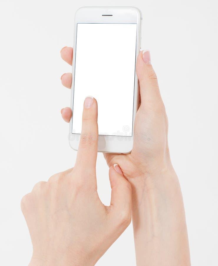 女性在白色隔绝的手举行手机,妇女有空的显示的,黑屏藏品电话,接触 免版税库存图片