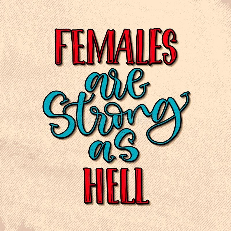 女性坚强 在葡萄酒样式的手写的书法字法 激动人心的女权主义行情,传染媒介 皇族释放例证