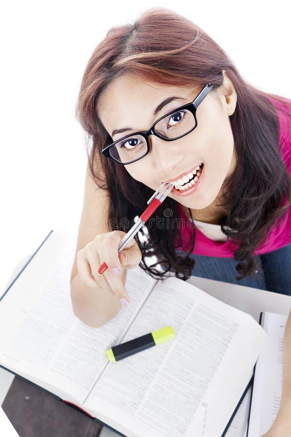 女性大学生特写镜头  免版税库存照片