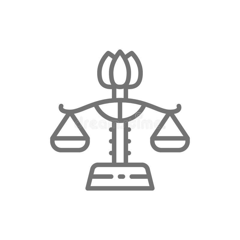 女性天秤座,男女平等,夫人正义线象 库存例证