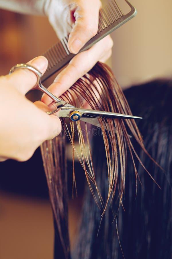 女性头发切口在美容院剪 免版税图库摄影