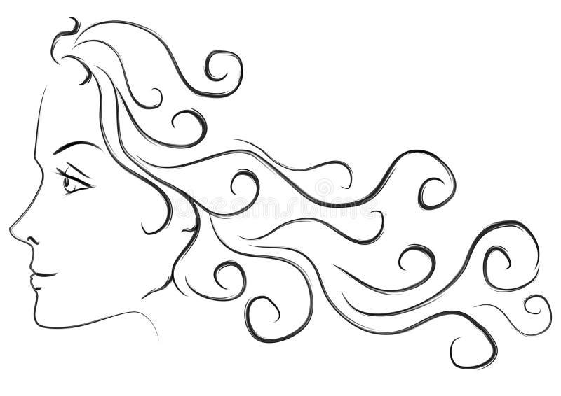 女性头发题头长的配置文件 向量例证