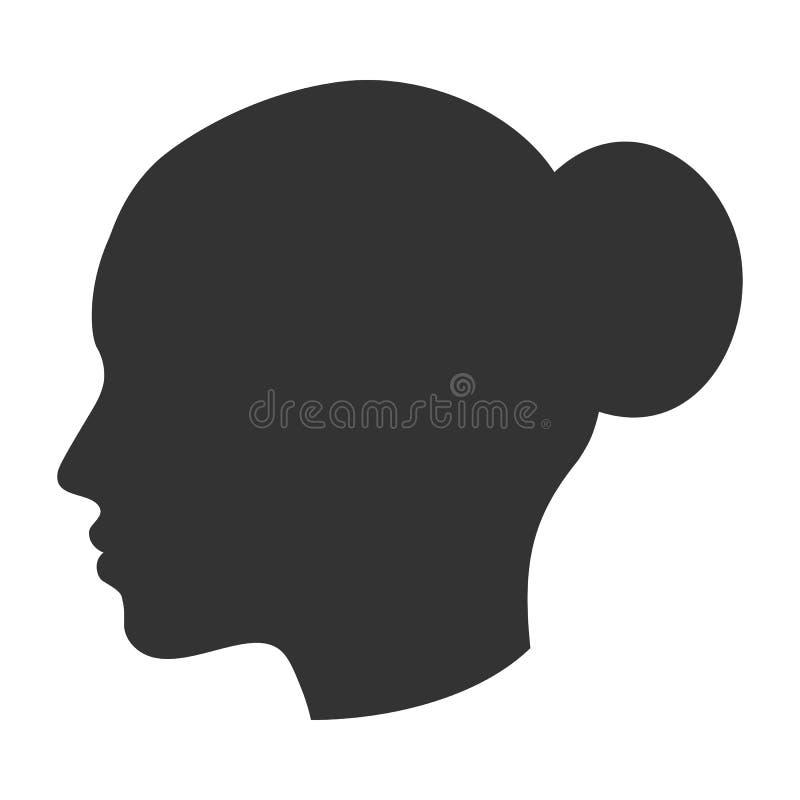 女性头,在外形,侧视图的妇女面孔剪影  库存例证