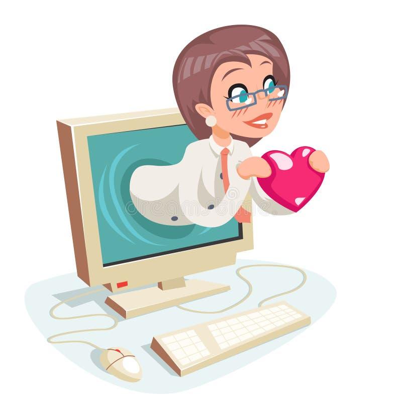 女性妇女Valentin天互联网逗人喜爱的愉快的女实业家举行问候爱心脏监护器背景动画片设计 皇族释放例证