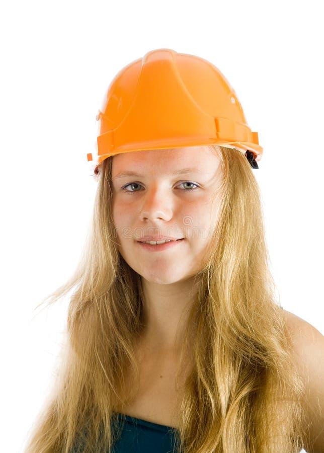 女性安全帽工作者 免版税库存图片