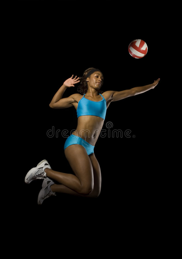 女性峰值排球 免版税库存图片