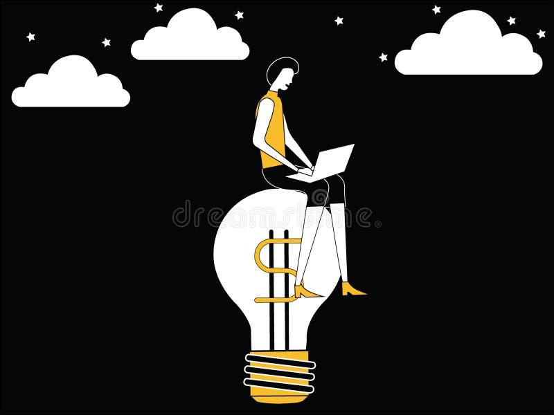 女性工作在想法电灯泡 库存例证