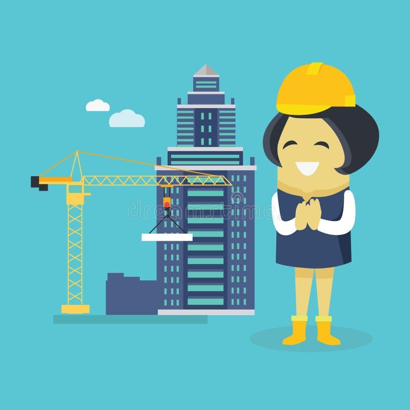 女性工程师和楼房建筑 向量例证