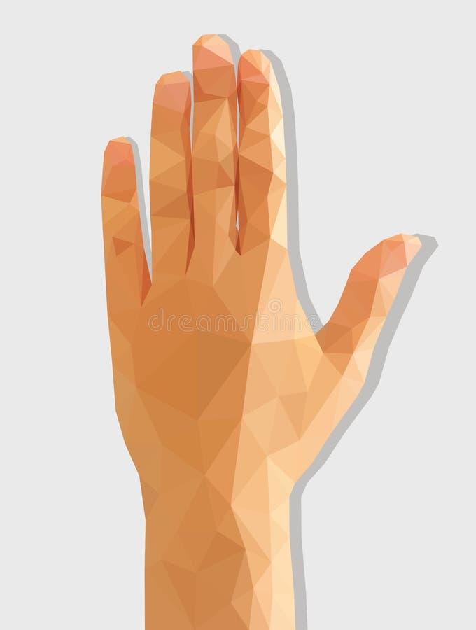 女性左手后方多角形低多 向量例证