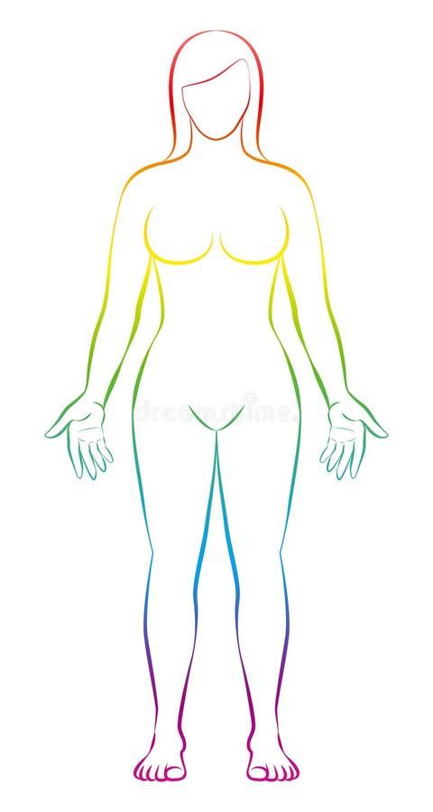 女性形状彩虹色的剪影妇女 皇族释放例证