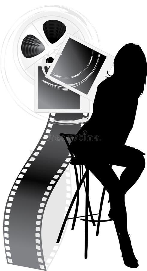 女性影片反对剪影 皇族释放例证