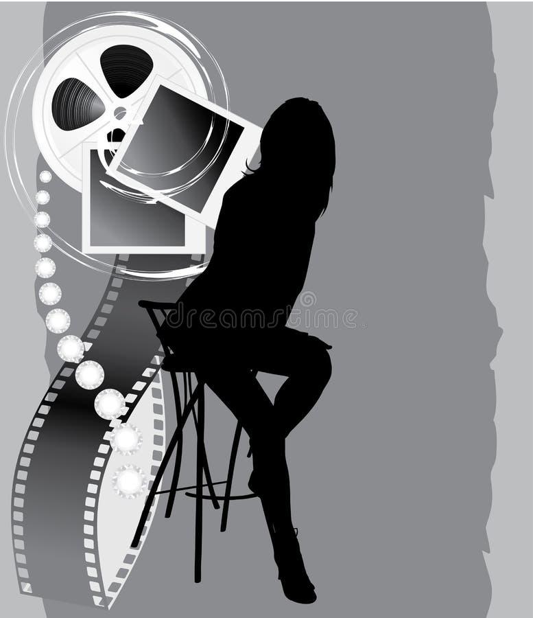 女性影片反对剪影 向量例证