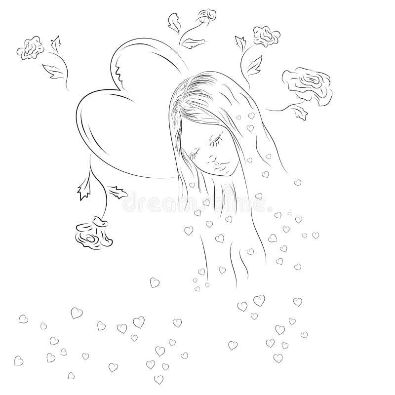 女性心脏和花的等高 皇族释放例证