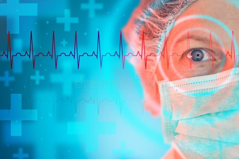 女性心脏科医师,心脏病学专家画象 库存图片