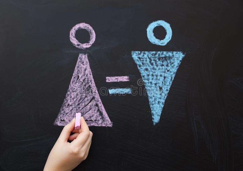 女性性别标志与男女平等的男性概念是相等的 画与在粉笔板的白垩 免版税库存照片