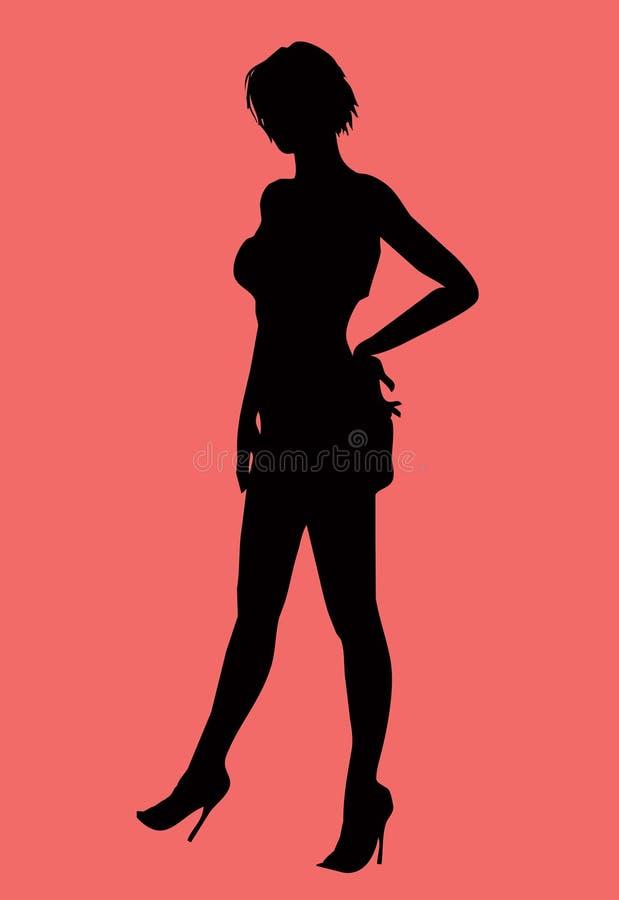 女性性感的剪影 库存照片