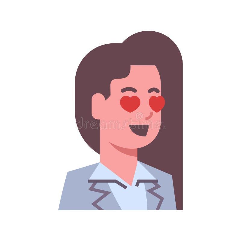 女性愉快的微笑的心脏形状注视情感象被隔绝的具体化妇女表情概念面孔 库存例证