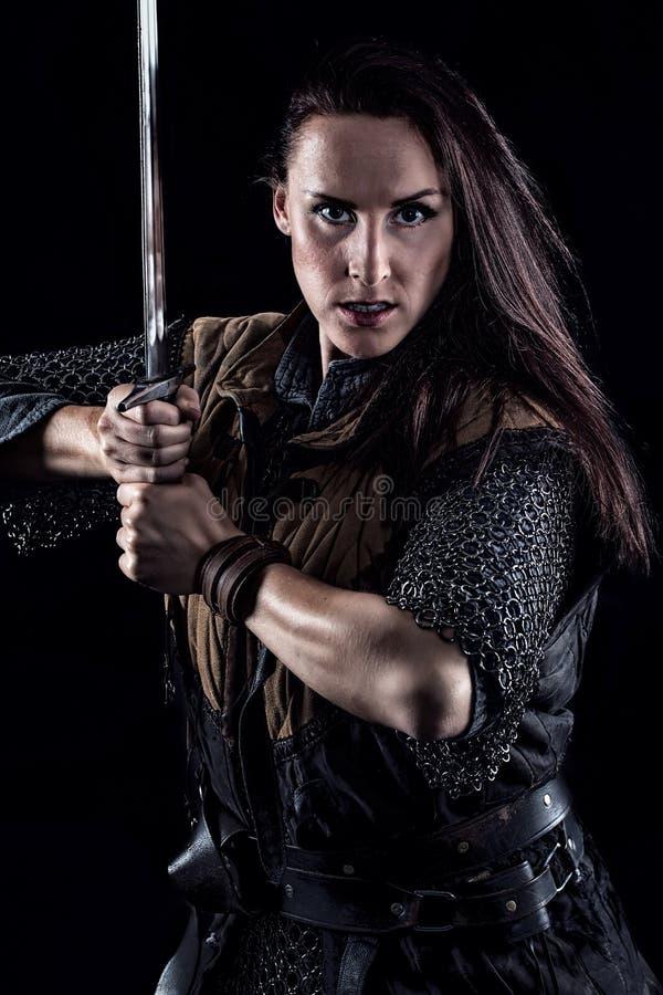 女性战士中世纪幻想骑士 库存照片