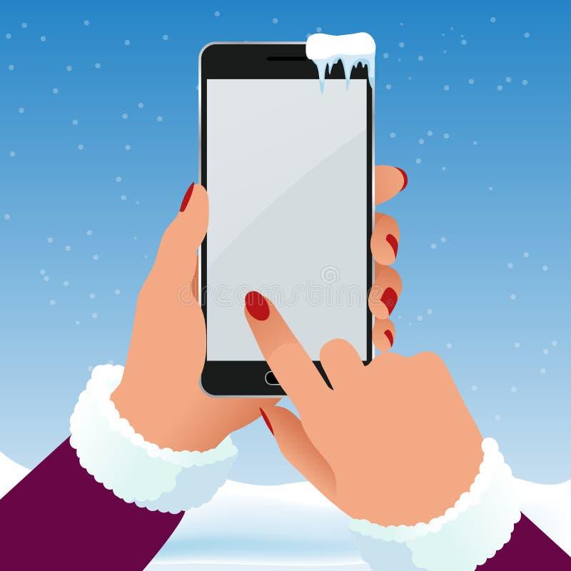 女性手在冬天拿着一个电话外面在霜 黑屏智能手机传染媒介例证 库存例证