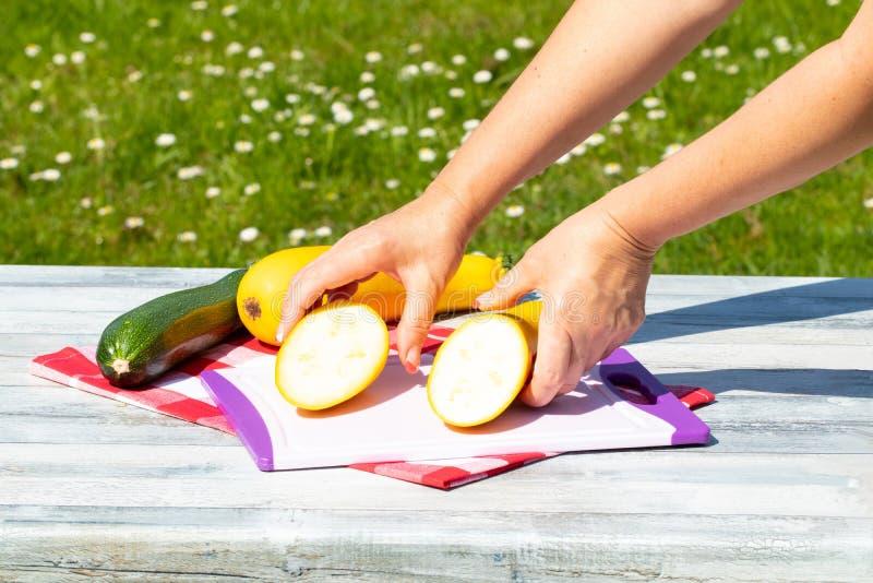 女性手显示在切口的一个新近地切的黄色夏南瓜 库存照片