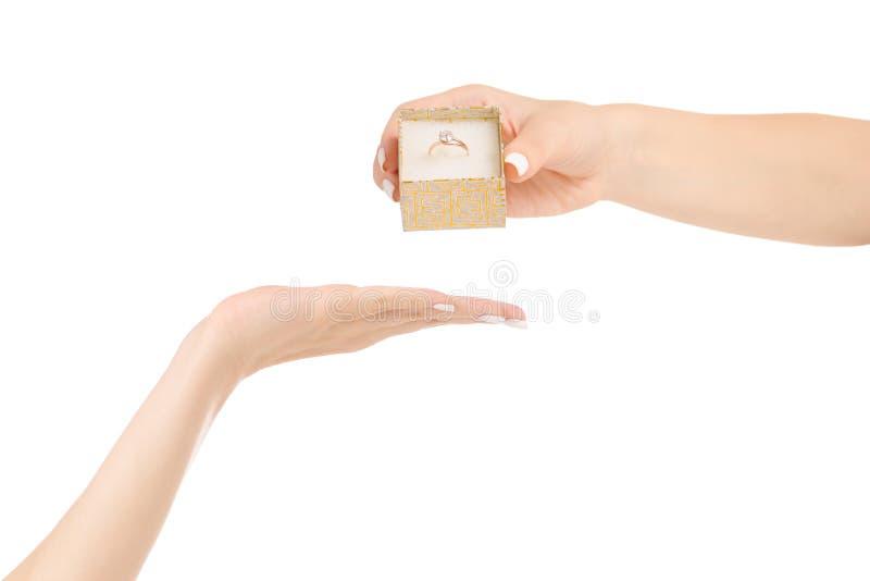女性手给有金戒指的一个箱子 免版税图库摄影