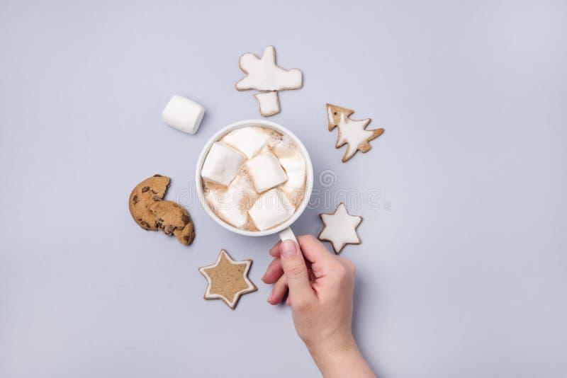 女性手藏品杯热的可可粉或巧克力有蛋白软糖浅兰的背景自创姜饼曲奇饼顶视图Fla 免版税库存照片