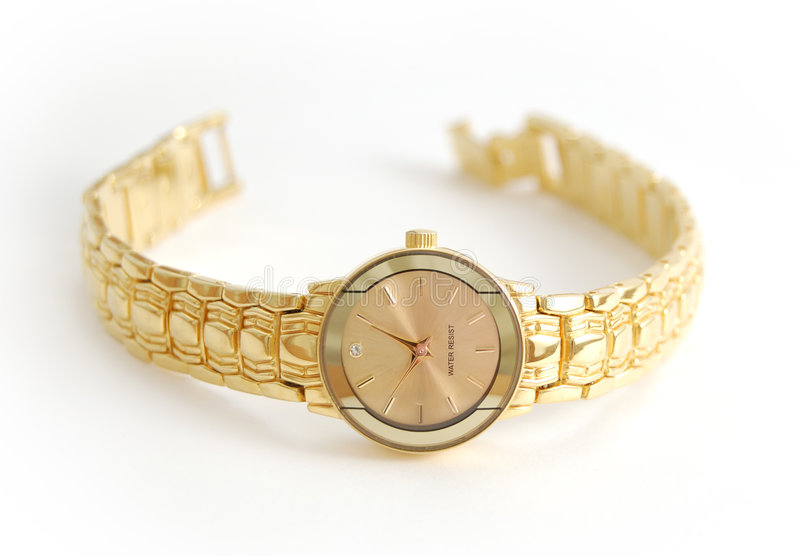 女性手表白色腕子 免版税库存照片