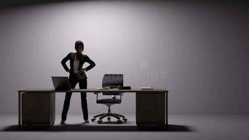 女性执行委员在一张大书桌后站立并且碰撞力量姿势 向量例证