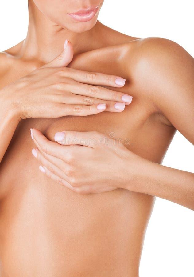 女性控制乳房 图库摄影