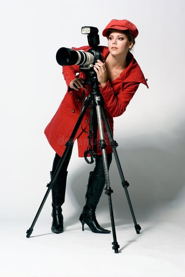 女性摄影师 库存照片