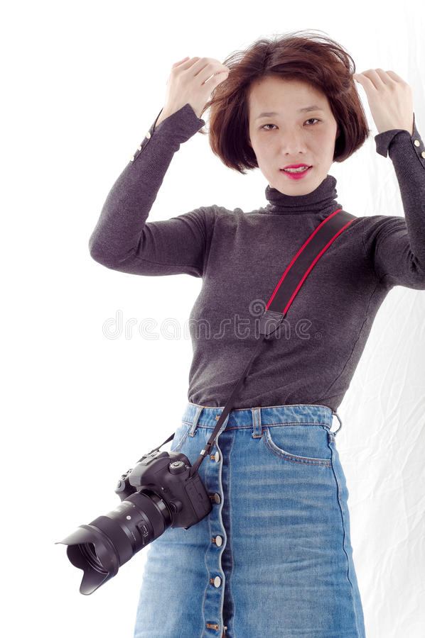 女性摄影师 免版税图库摄影