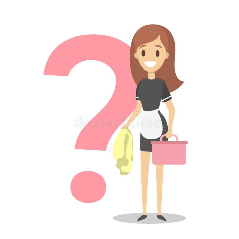 女性擦净人或旅馆佣人用设备 向量例证