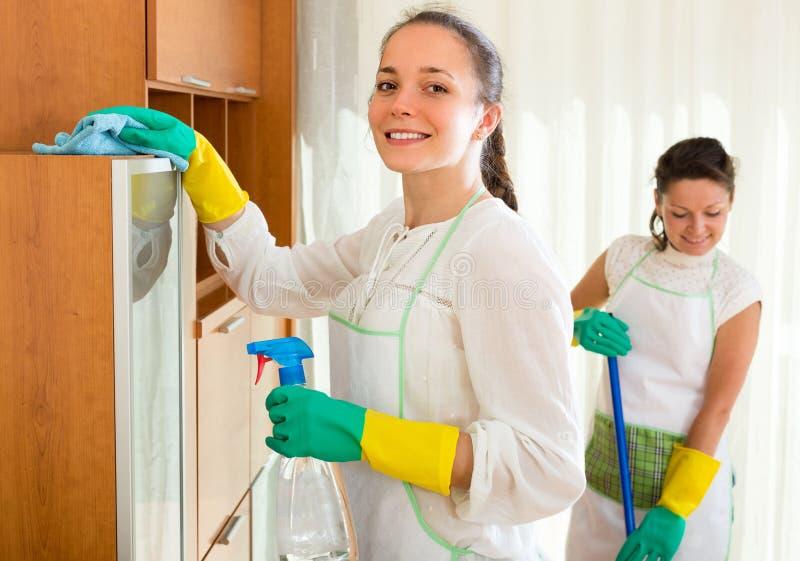女性擦净人洁净室 免版税图库摄影