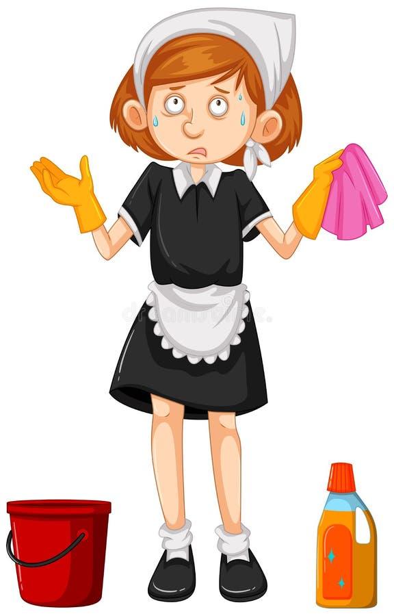 女性擦净剂用清洁设备 向量例证