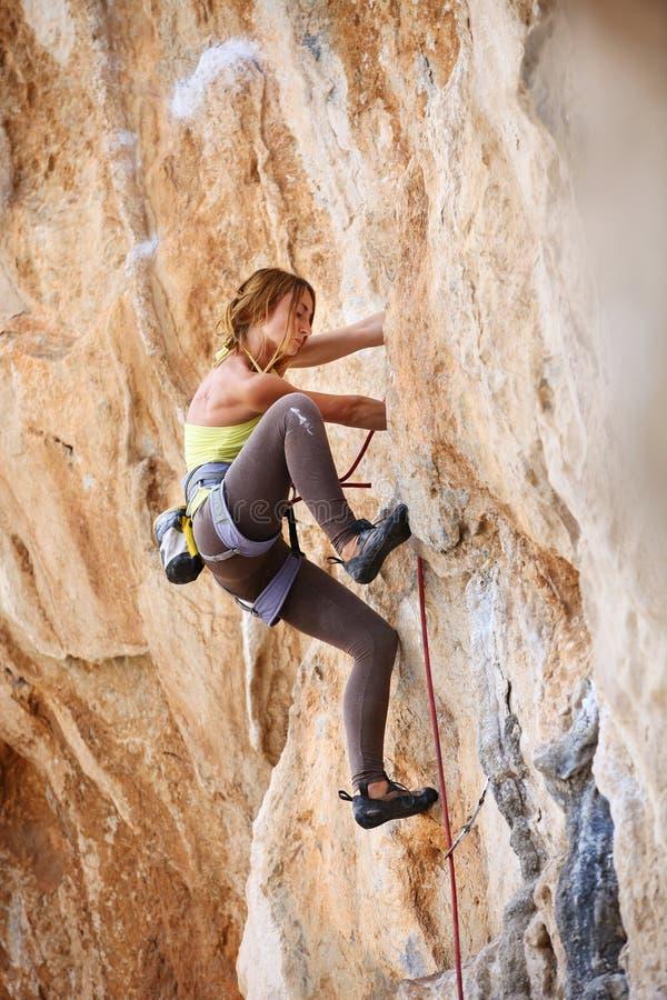 年轻女性攀岩运动员峭壁的面孔 库存照片