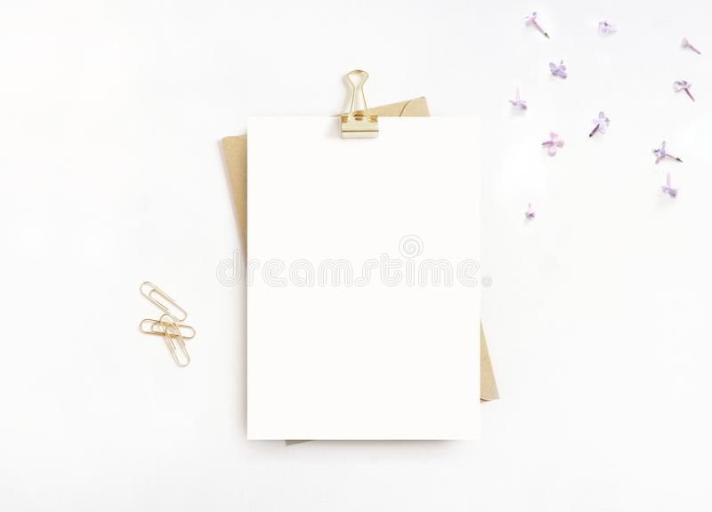 女性文具,桌面大模型场面 空白的贺卡、工艺信封、金黄纸、黏合剂夹子和丁香 库存图片