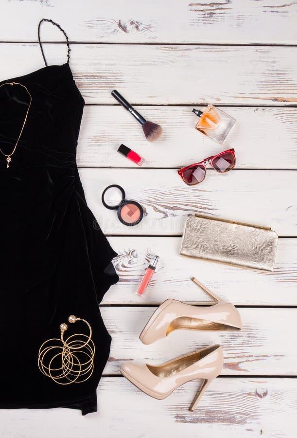 女性时尚集合,辅助部件 免版税库存照片