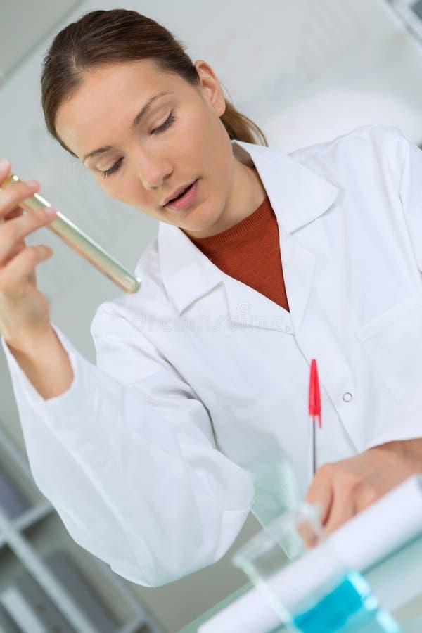 女性有长的吸移管的实验室化学家充分的试管 库存图片