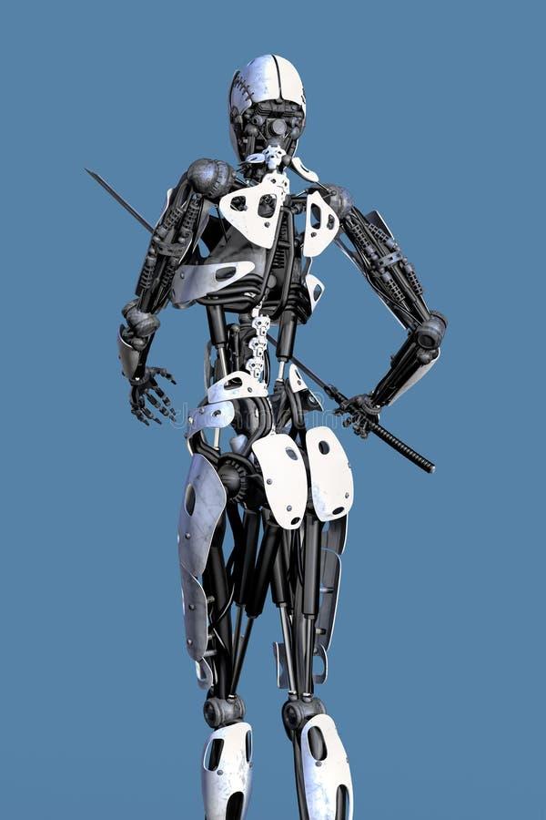 女性机器人有剑背面图 皇族释放例证