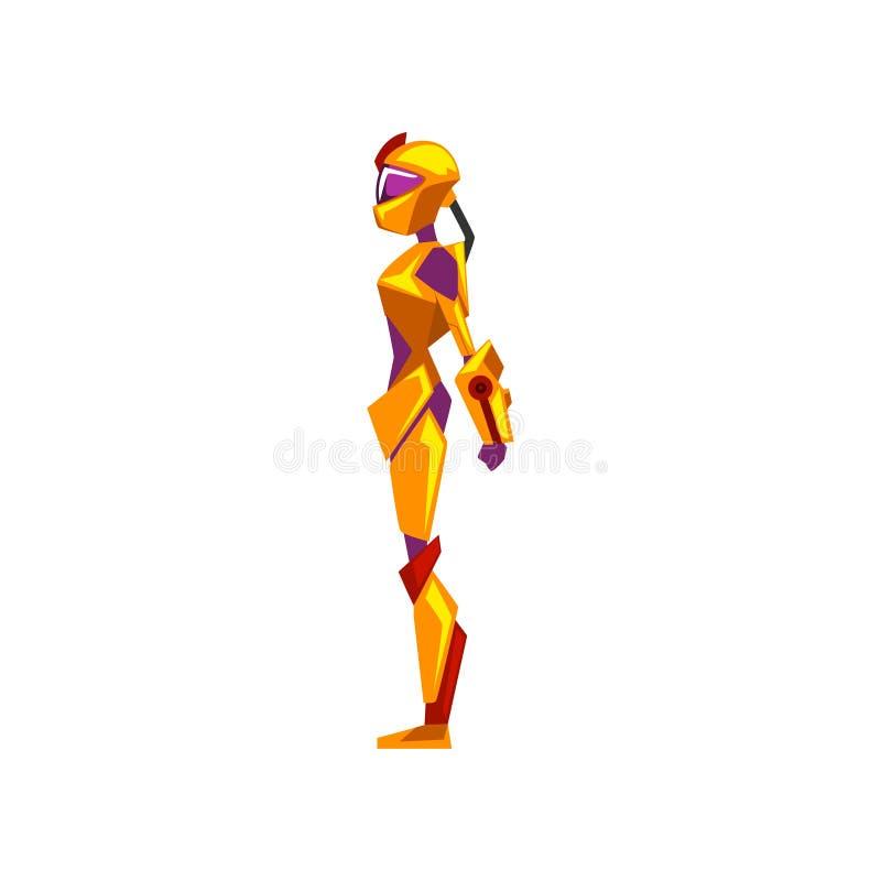 女性机器人航天服,超级英雄,靠机械装置维持生命的人服装,侧视图在白色背景的传染媒介例证 皇族释放例证