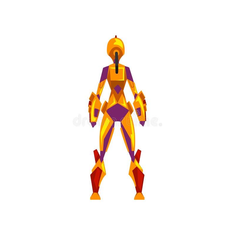 女性机器人航天服,超级英雄,靠机械装置维持生命的人服装,在白色背景的后面看法传染媒介例证 库存例证