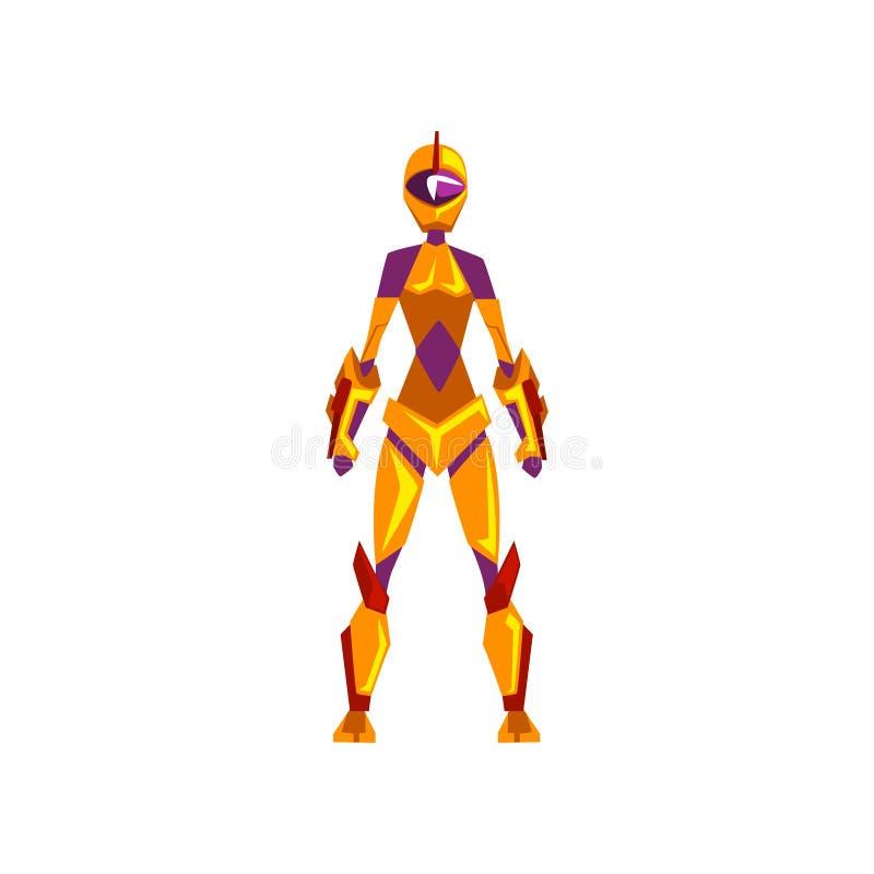 女性机器人航天服,超级英雄,靠机械装置维持生命的人服装,正面图在白色背景的传染媒介例证 库存例证