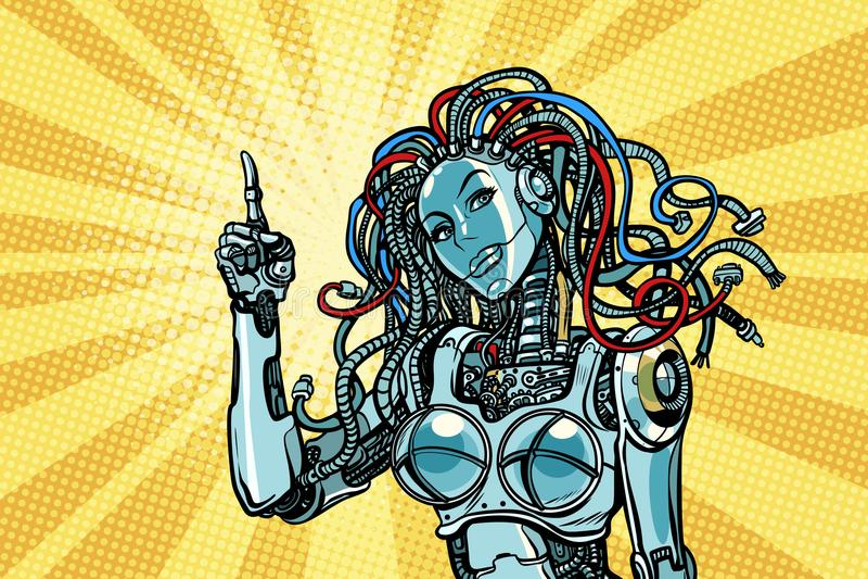 女性机器人表明 库存例证