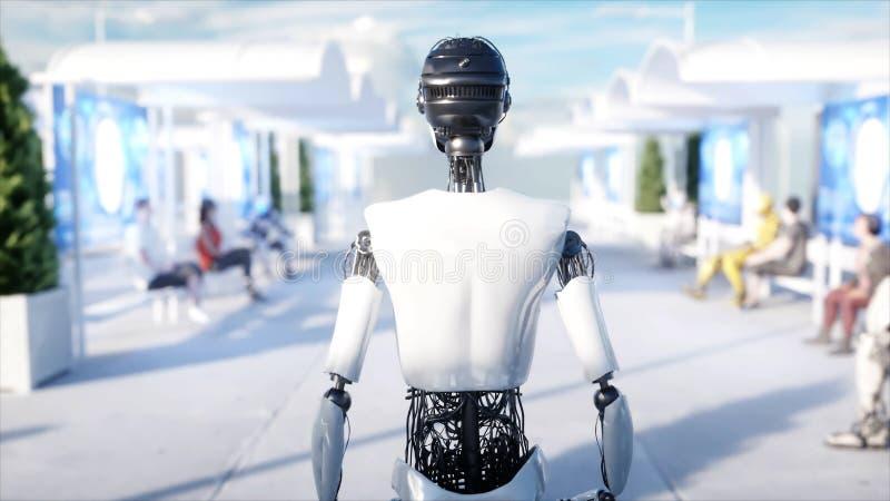 女性机器人走 科学幻想小说驻地 未来派单轨铁路车运输 未来的概念 人们和机器人 3d翻译 皇族释放例证