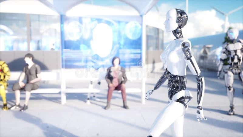 女性机器人走 科学幻想小说驻地 未来派单轨铁路车运输 未来的概念 人们和机器人 3d翻译 向量例证