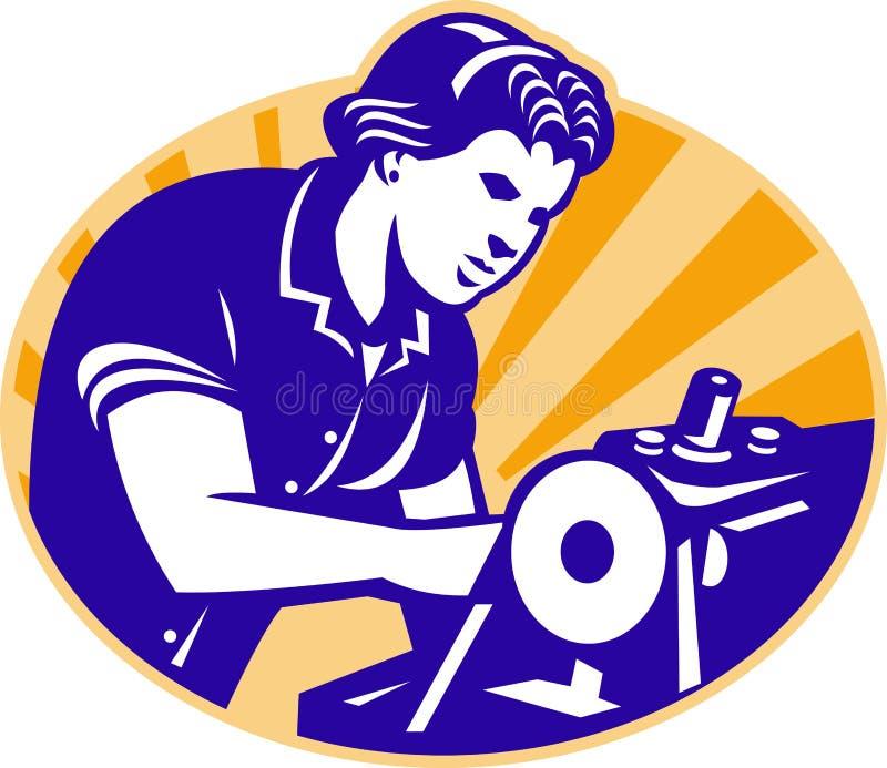 女性机械师裁缝工作者缝纫机 库存例证